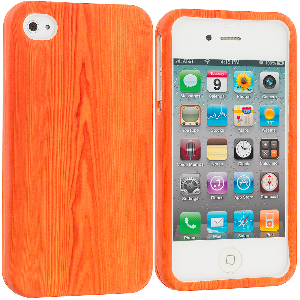 Apple iPhone 4 / 4S Wood Grain Hard Rubberized Design Case Cover