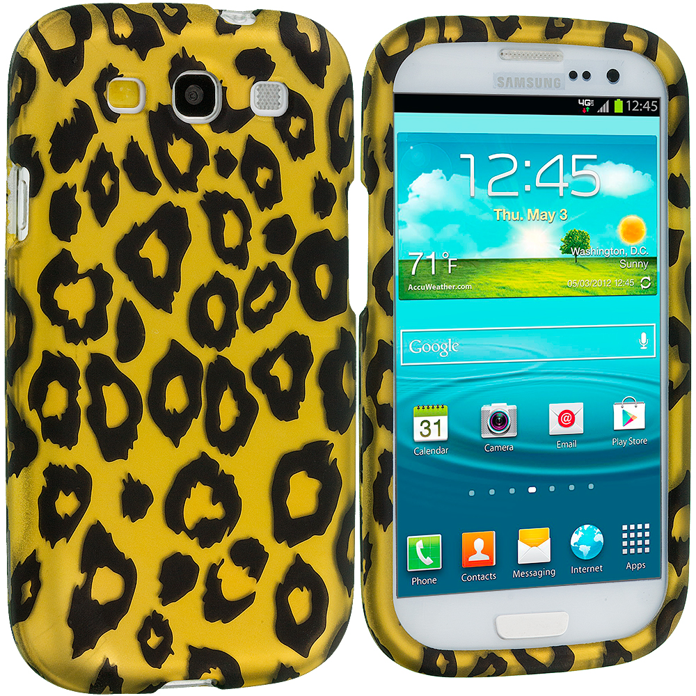 Samsung Galaxy S3 Black Leopard on Golden 2D Hard Rubberized Design Case Cover