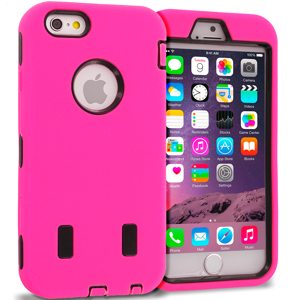 Apple iPhone 6 6S (4.7) Hot Pink / Black Hybrid Deluxe Hard/Soft Case Cover