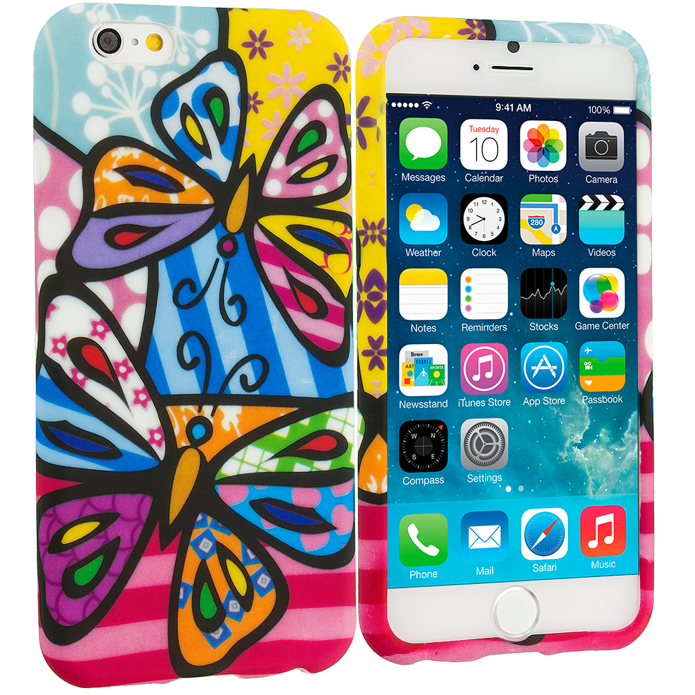 Apple iPhone 6 Plus 6S Plus (5.5) Rainbow Butterfly TPU Design Soft Rubber Case Cover