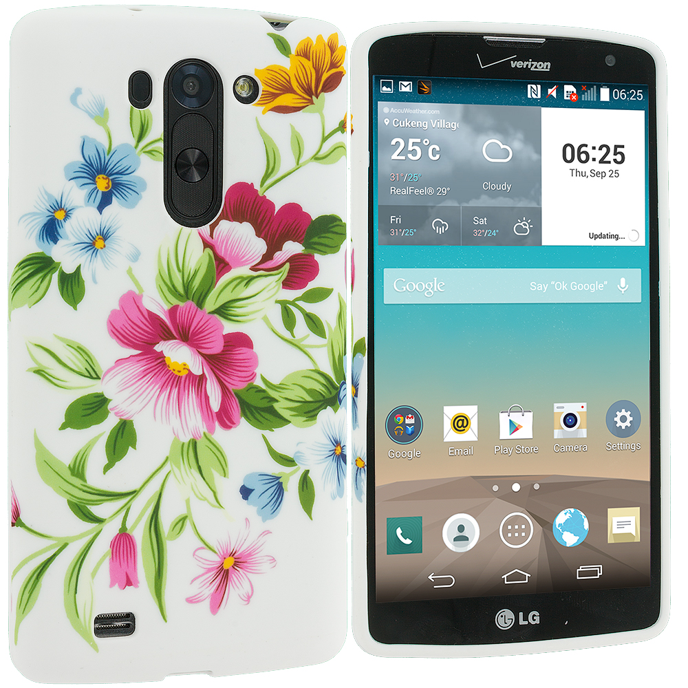 LG G Vista Flower Painting TPU Design Soft Rubber Case Cover