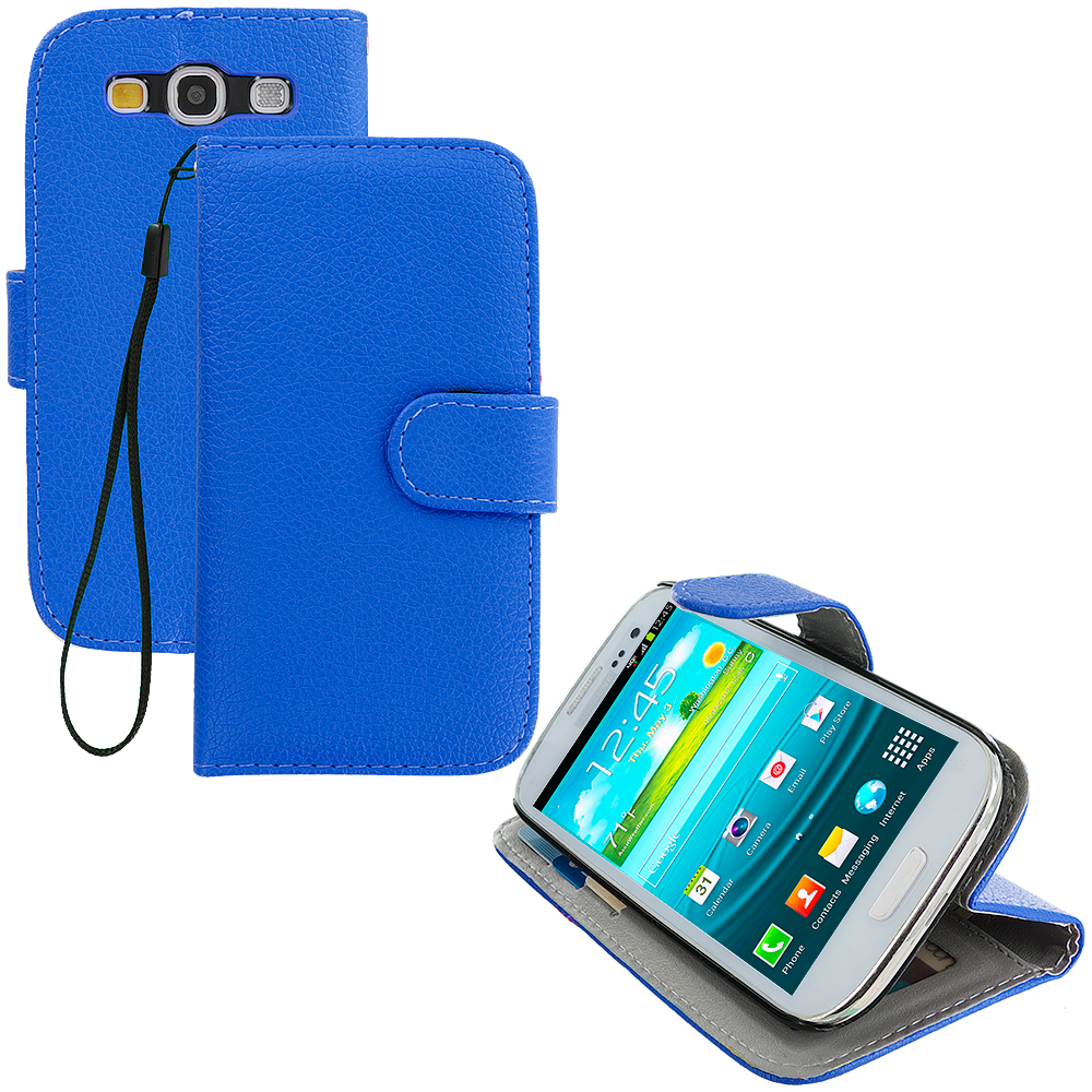 Samsung Galaxy S3 2 in 1 Combo Bundle Pack - Black Blue Leather Wallet Pouch Case Cover with Slots : Color Blue