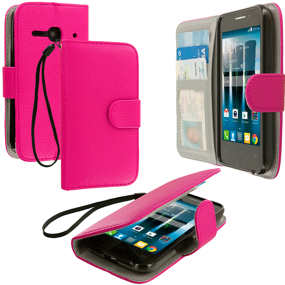 Alcatel One Touch Evolve 2 Hot Pink Leather Wallet Pouch Case Cover with Slots