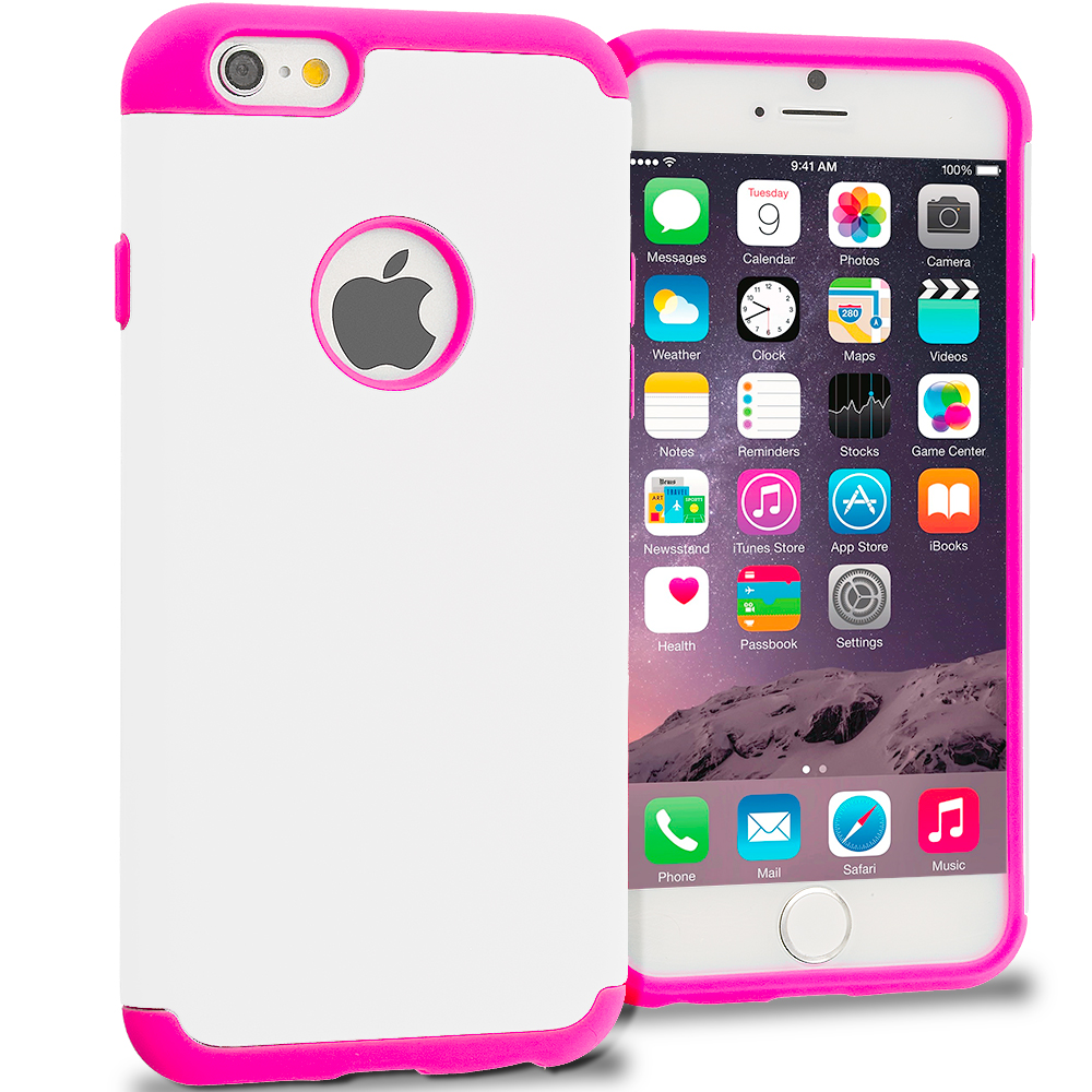 Apple iPhone 6 6S (4.7) 5 in 1 Combo Bundle Pack - Hybrid Slim Hard Soft Rubber Impact Protector Case Cover : Color Hot Pink / White