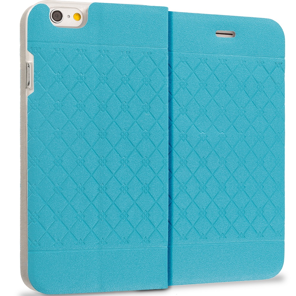 Apple iPhone 6 Plus 6S Plus (5.5) Baby Blue Slim Wallet Plaid Luxury Design Flip Case Cover