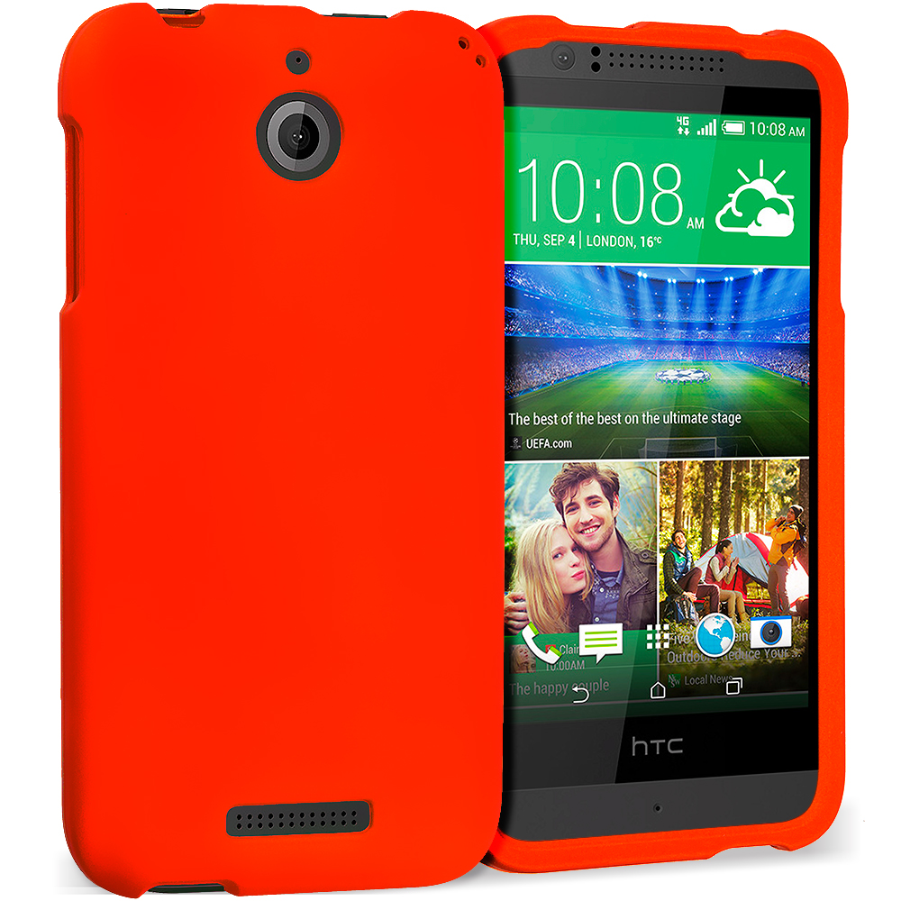 HTC Desire 510 Orange Hard Rubberized Case Cover
