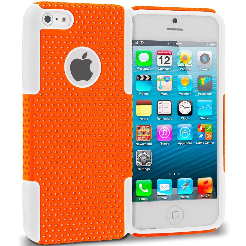 Apple iPhone 5/5S/SE White / Orange Hybrid Mesh Hard/Soft Case Cover