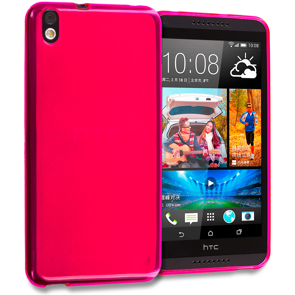 HTC Desire 816 Hot Pink TPU Rubber Skin Case Cover