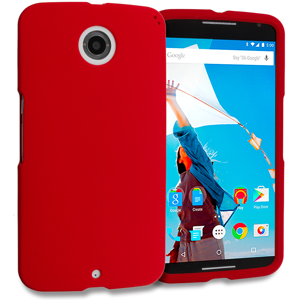 Motorola Google Nexus 6 Red Hard Rubberized Case Cover