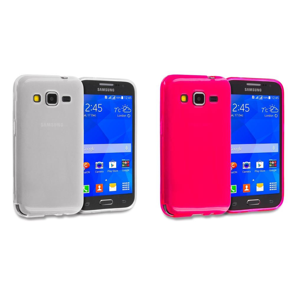 Samsung Galaxy Prevail LTE Core Prime G360P 2 in 1 Combo Bundle Pack - Clear TPU Rubber Skin Case Cover