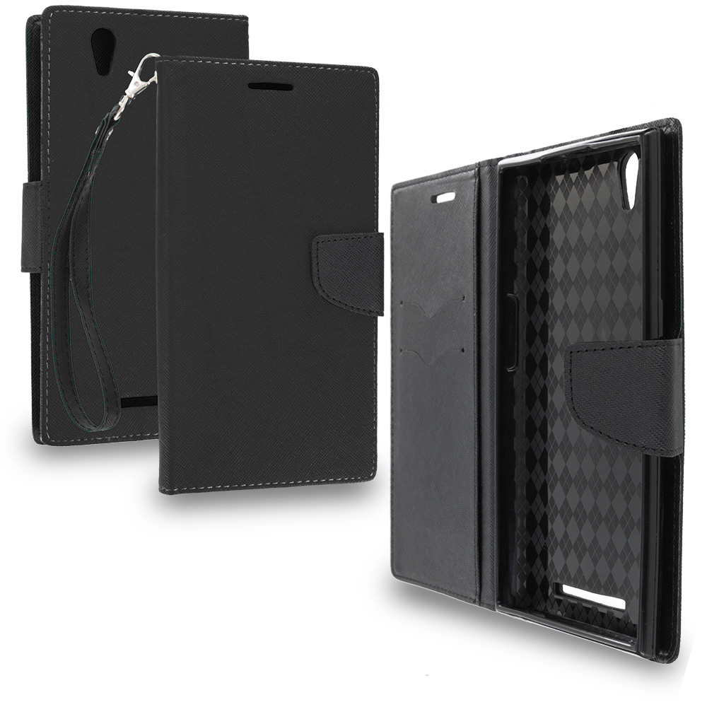 ZTE Zmax Black / Black Leather Flip Wallet Pouch TPU Case Cover with ID Card Slots