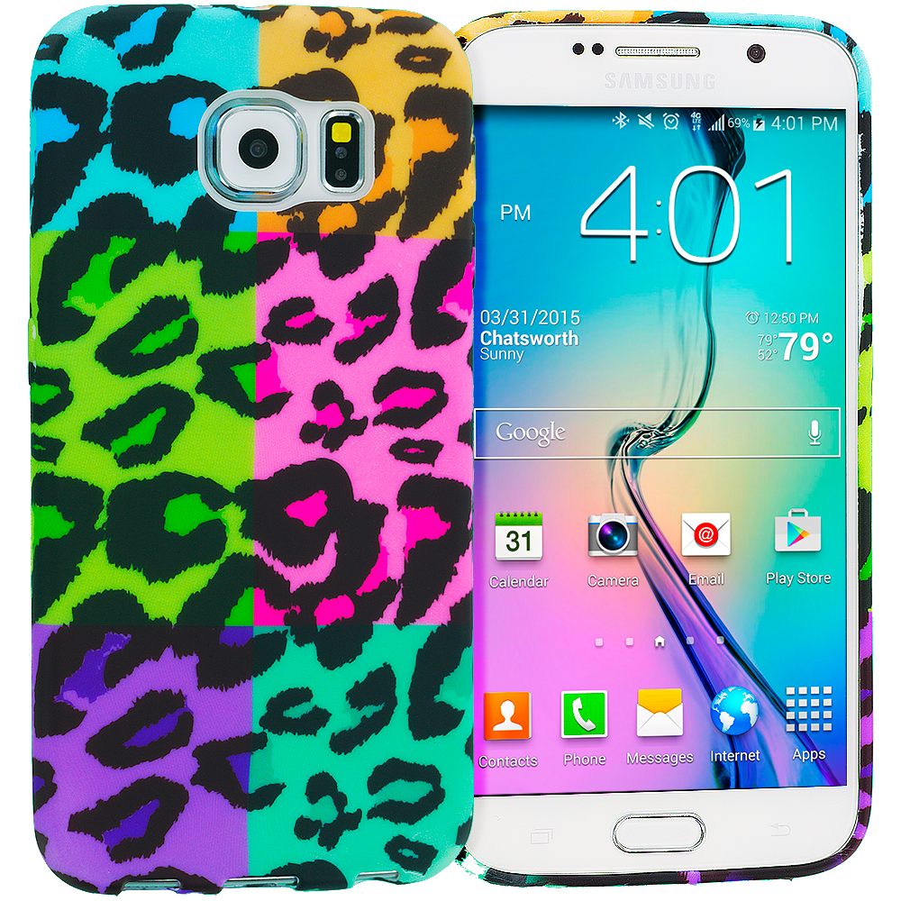 Samsung Galaxy S6 Splicing Grid Leopard TPU Design Soft Rubber Case Cover