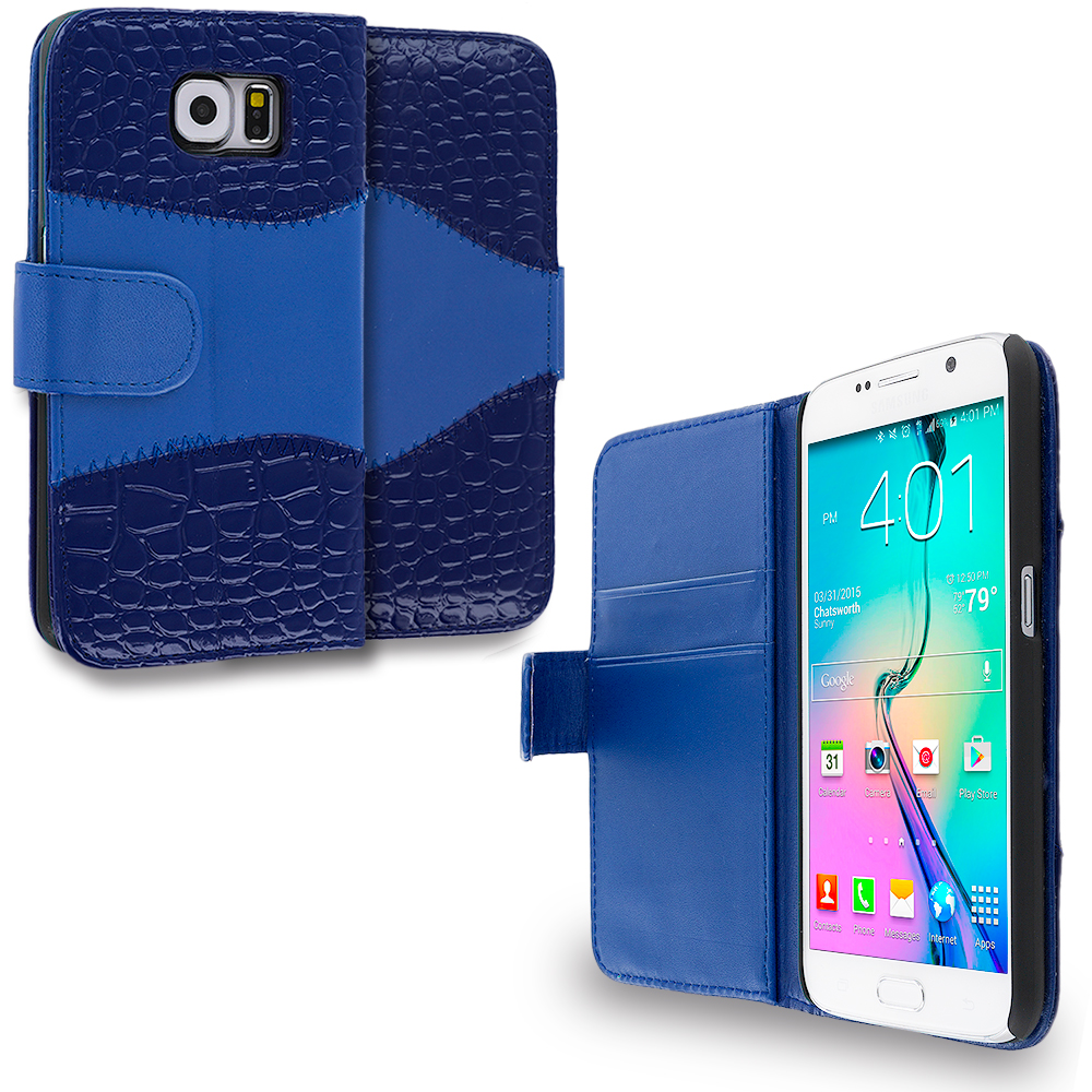 Samsung Galaxy S6 2 in 1 Combo Bundle Pack - Crocodile Leather Wallet Pouch Case Cover with Slots : Color Blue Crocodile