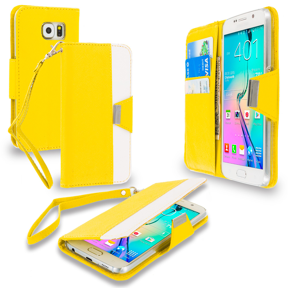 Samsung Galaxy S6 4 in 1 Combo Bundle Pack - Wallet Magnetic Metal Flap Case Cover With Card Slots : Color Yellow