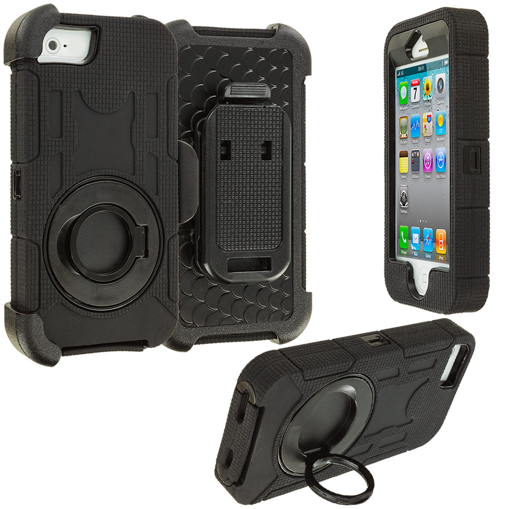 Apple iPhone 4 Black Hybrid Heavy Duty Shockproof Armor Case Cover With Rotating Belt Clip Holster