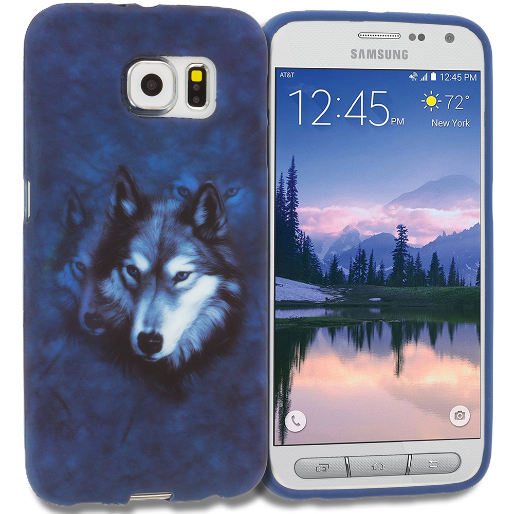 Samsung Galaxy S6 Active Wolf TPU Design Soft Rubber Case Cover