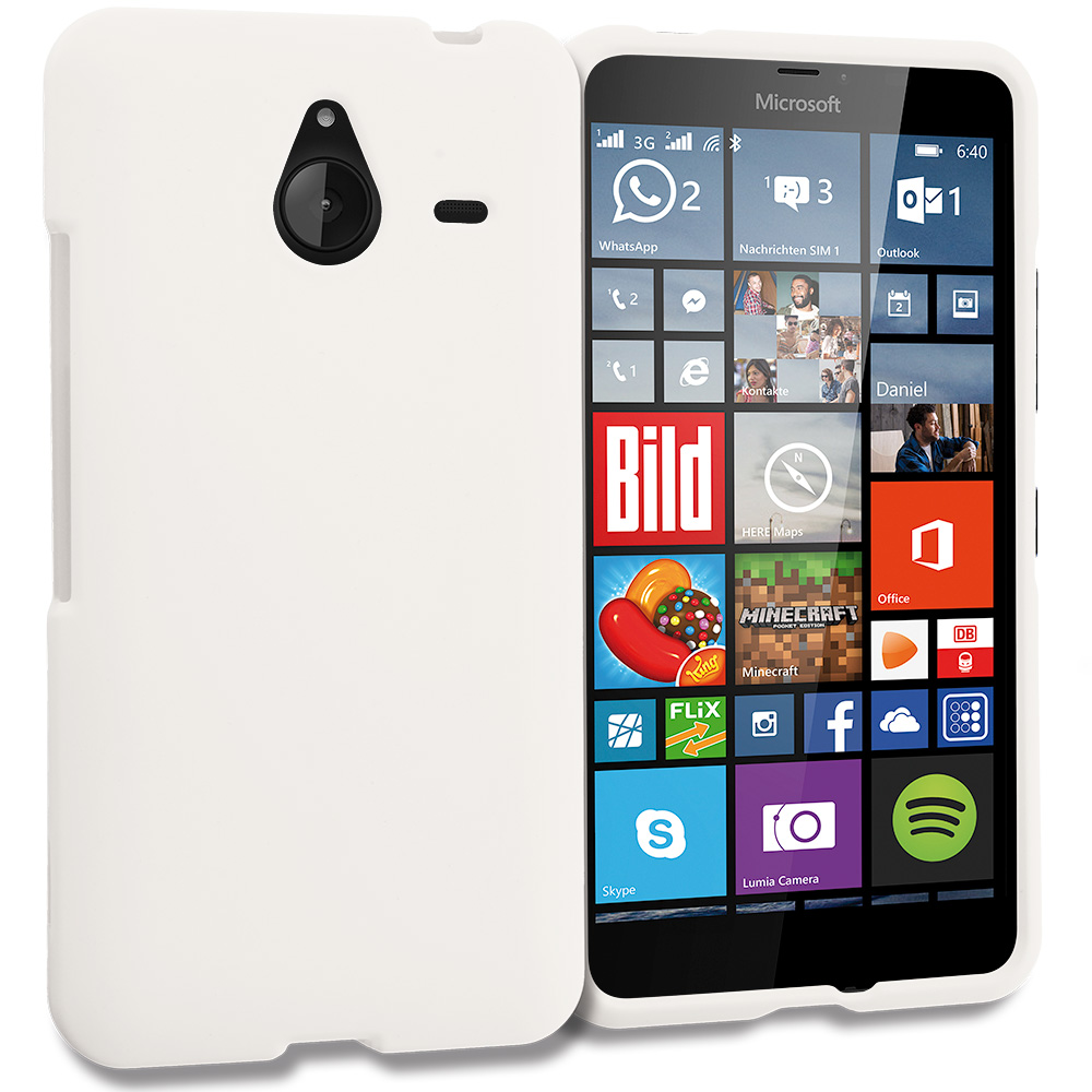 Microsoft Lumia 640 XL White Hard Rubberized Case Cover