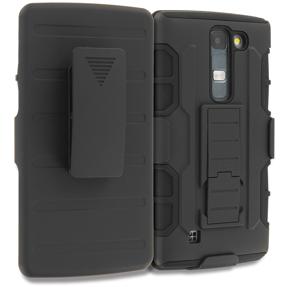 LG Volt 2 LS751 Black Hybrid Rugged Robot Armor Heavy Duty Case Cover with Belt Clip Holster