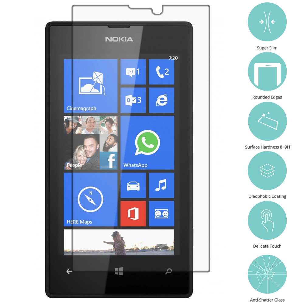Nokia Lumia 520 Clear Tempered Glass Film Screen Protector Clear