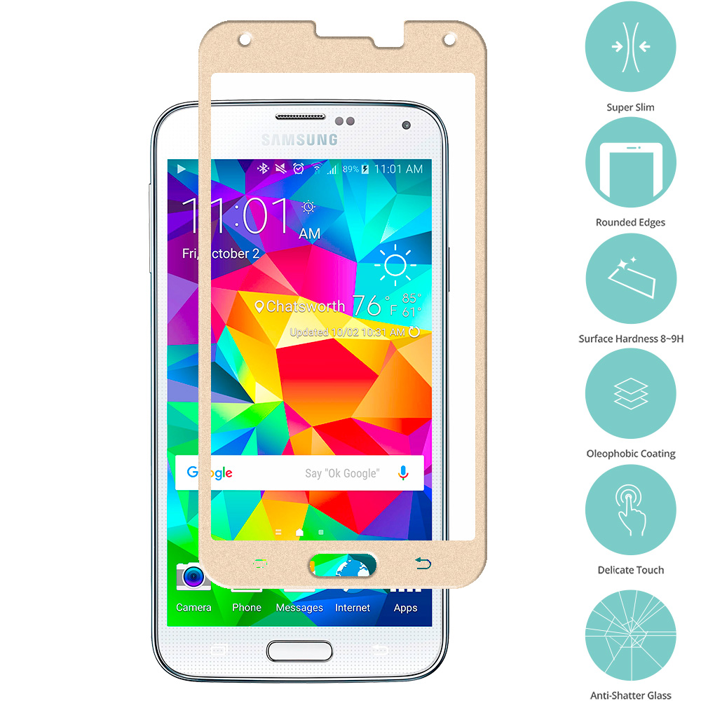Samsung Galaxy S5 Gold Tempered Glass Film Screen Protector Colored