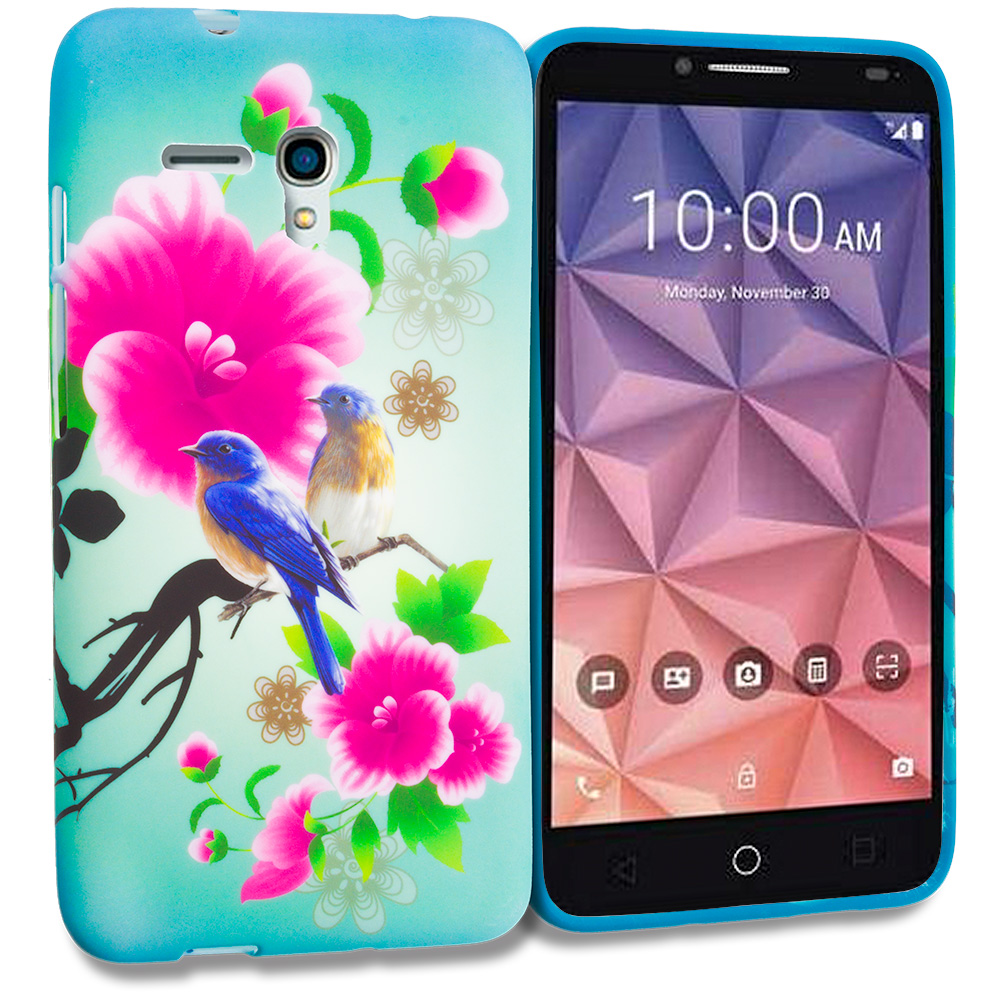 Alcatel OneTouch Fierce XL Blue Bird Pink Flower TPU Design Soft Rubber Case Cover