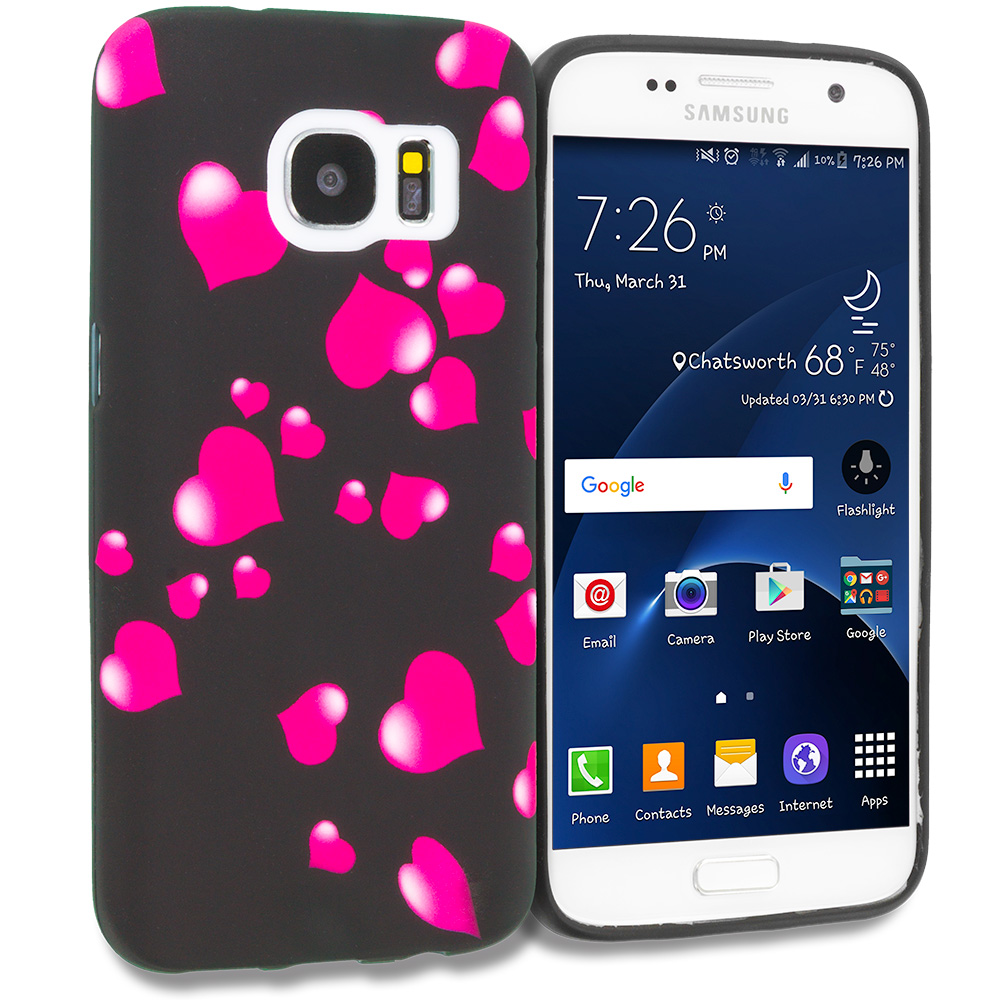 Samsung Galaxy S7 Combo Pack : Rainbow Star TPU Design Soft Rubber Case Cover : Color Raining Hearts