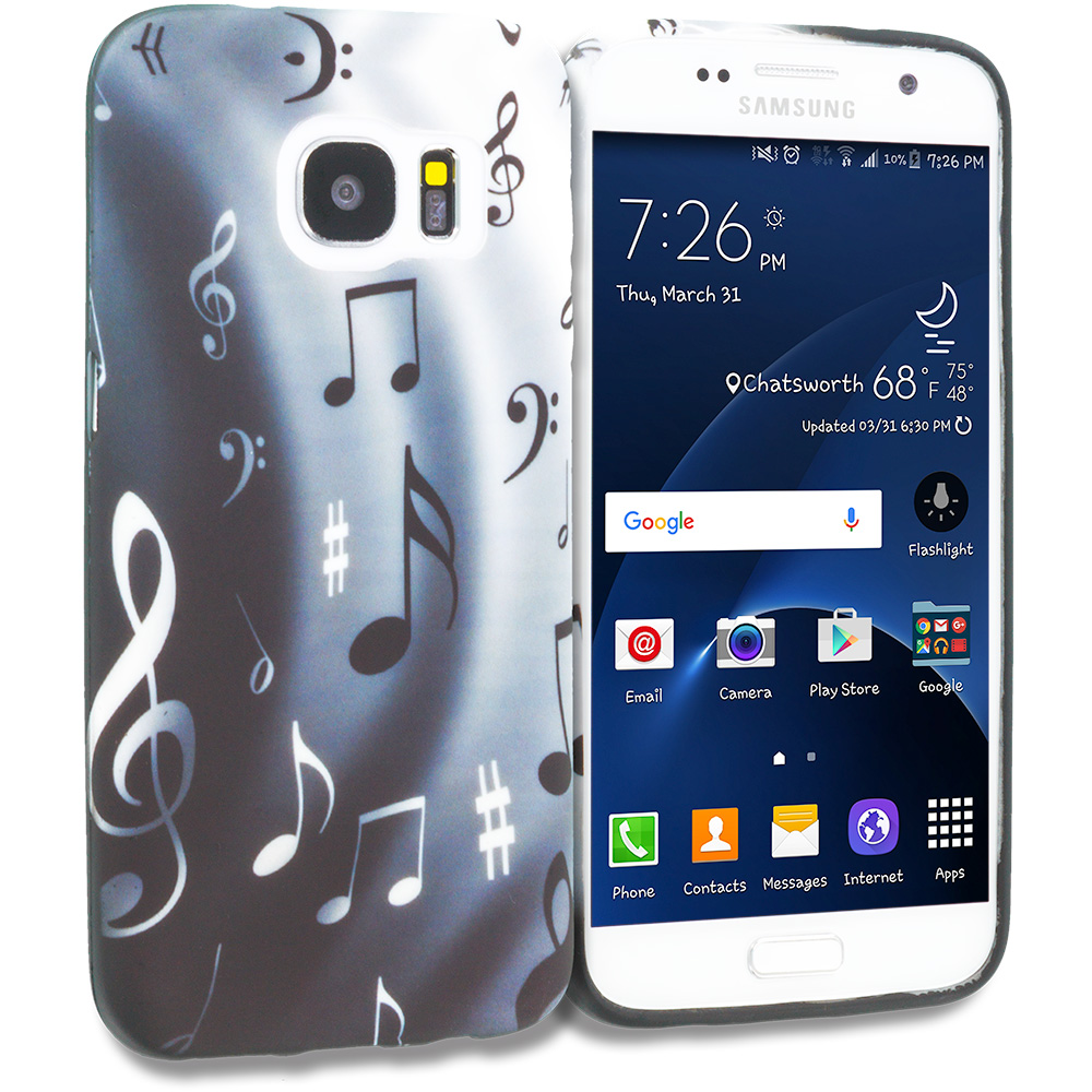 Samsung Galaxy S7 Edge Musical Notes TPU Design Soft Rubber Case Cover