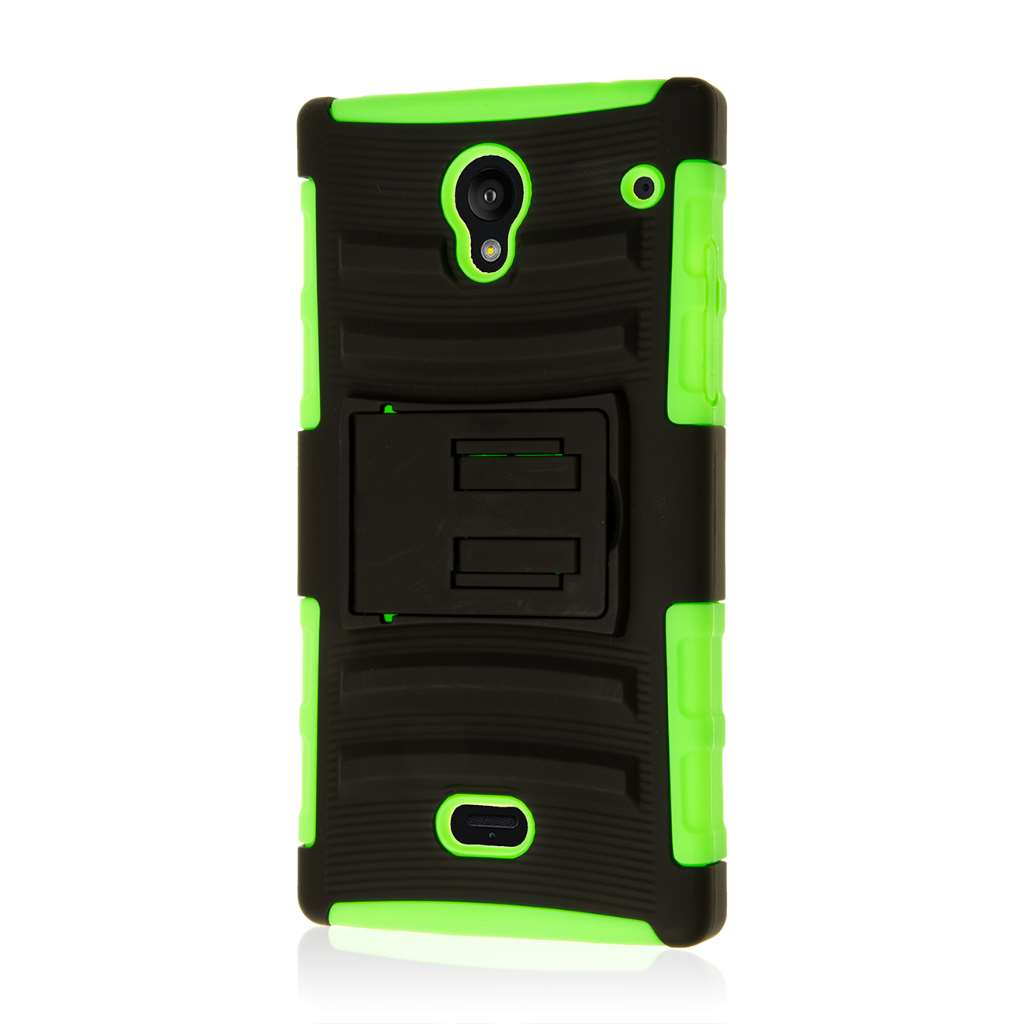 Sharp AQUOS Crystal - Neon Green MPERO IMPACT XT - Kickstand Case Cover