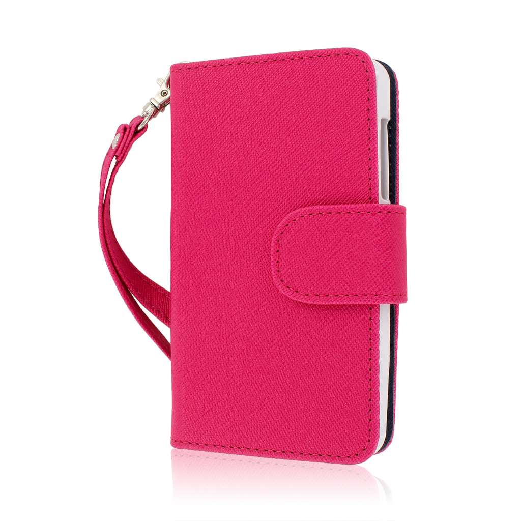 ZTE Engage - Hot Pink / Navy Blue MPERO FLEX FLIP Wallet Case Cover