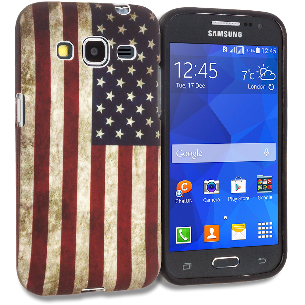 Samsung Galaxy Prevail LTE Core Prime G360P American Flag TPU Design Soft Rubber Case Cover