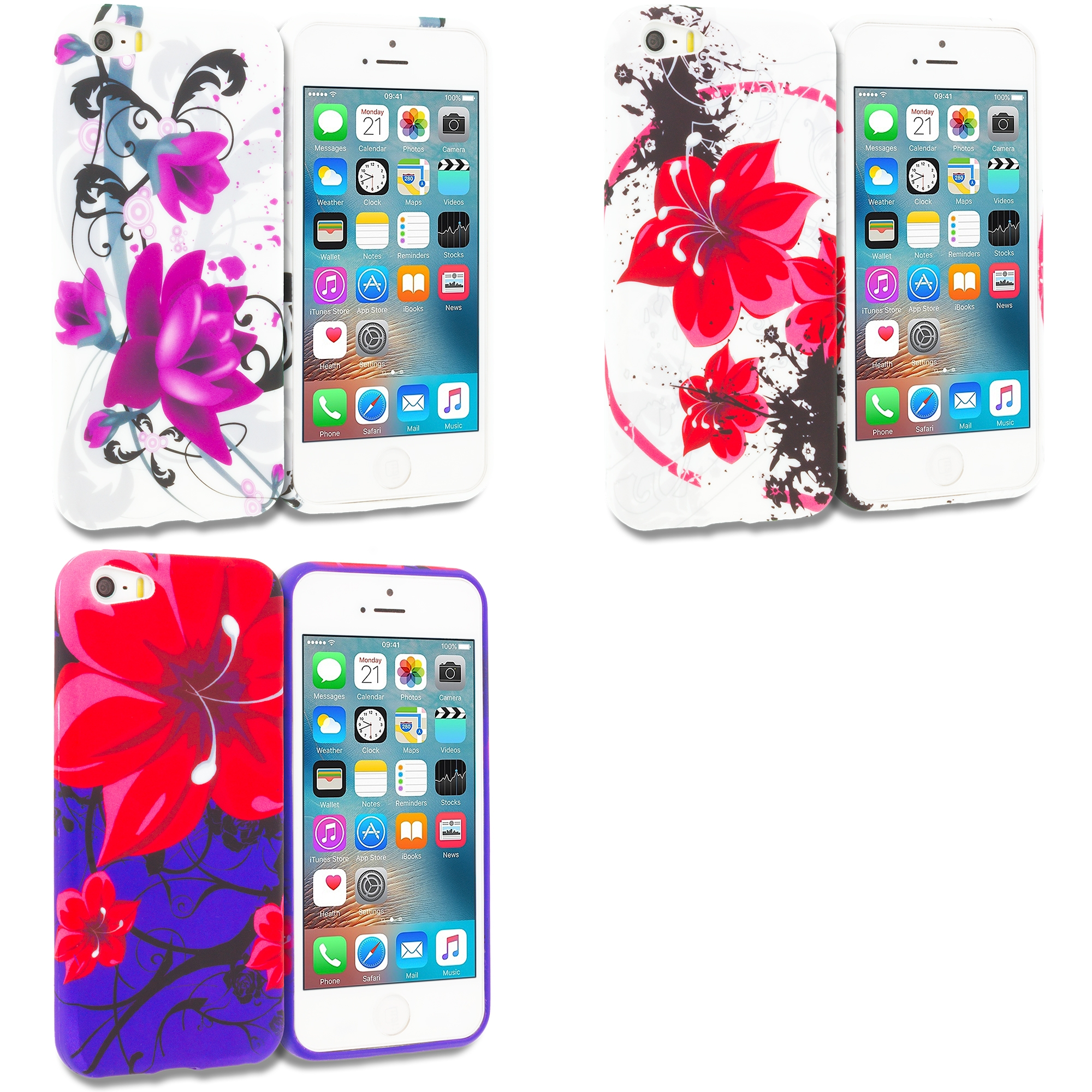 Apple iPhone 5/5S/SE Combo Pack : Red Flowers TPU Design Soft Rubber Case Cover