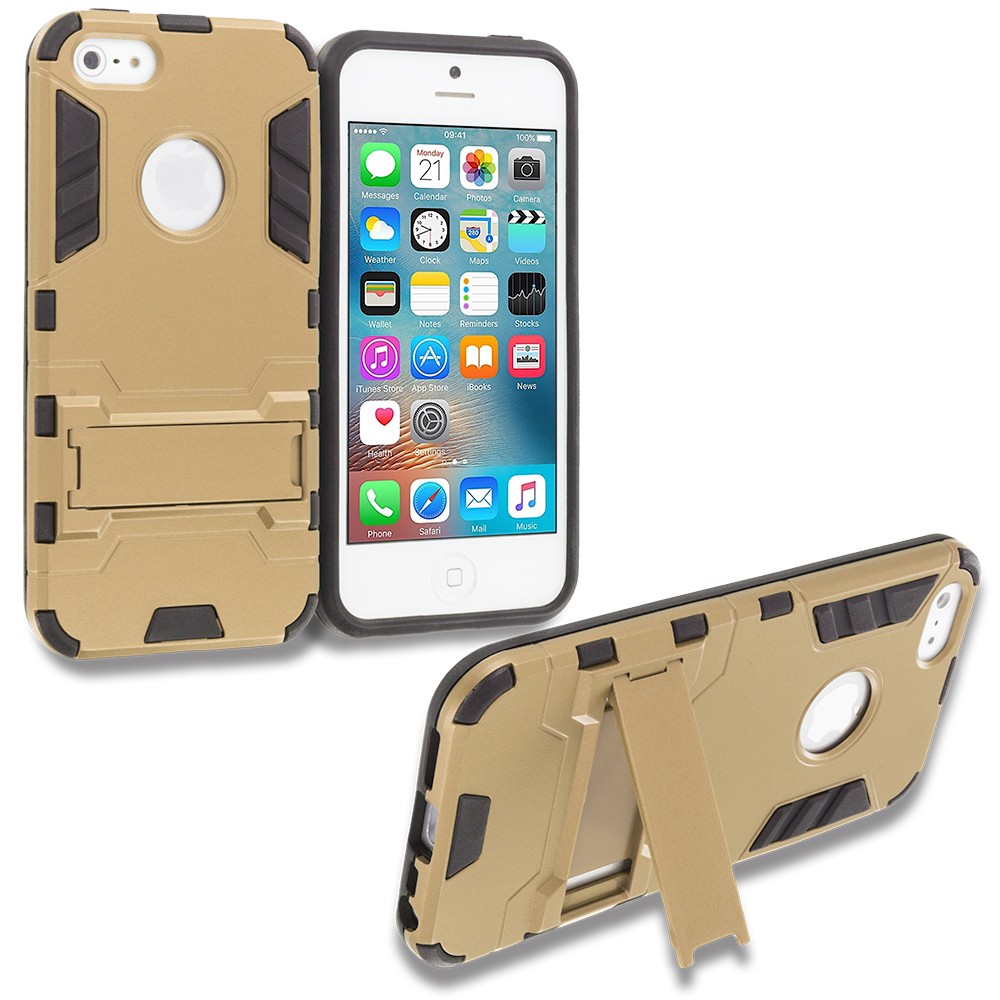 Apple iPhone 5/5S/SE Combo Pack : Gold Hybrid Transformer Armor Slim Shockproof Case Cover Kickstand : Color Gold
