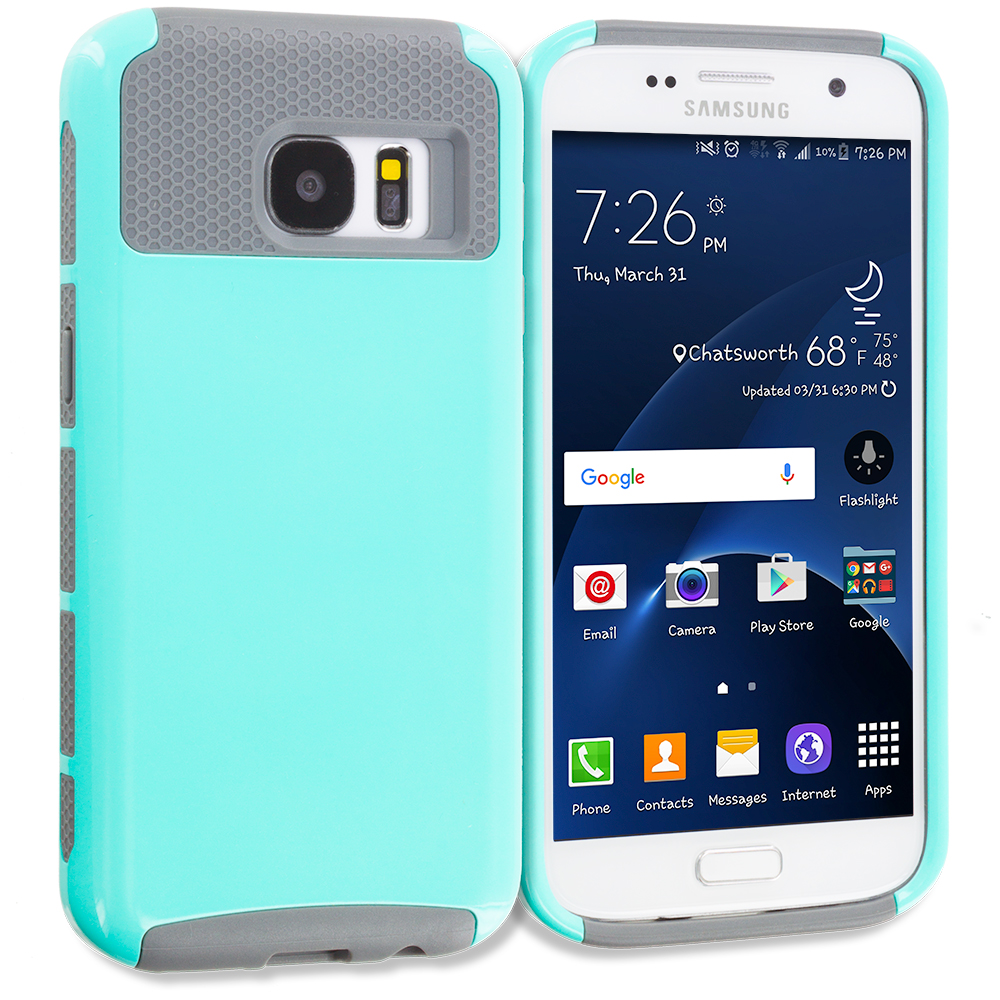 Samsung Galaxy S7 Mint Green / Gray Hybrid Hard TPU Honeycomb Rugged Case Cover