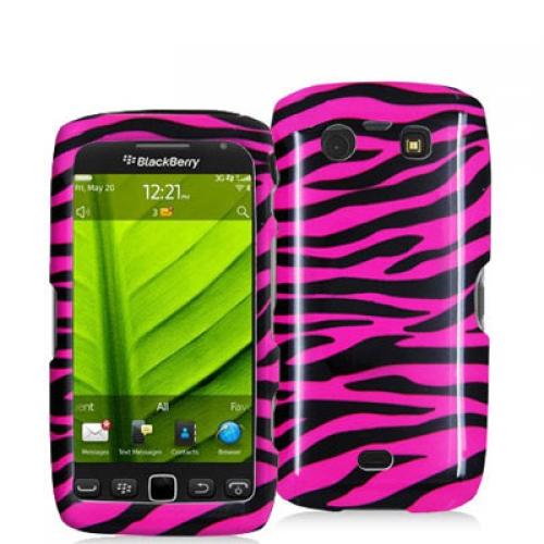 BlackBerry Torch 9850 9860 Black / Hot Pink Zebra Design Crystal Hard Case Cover