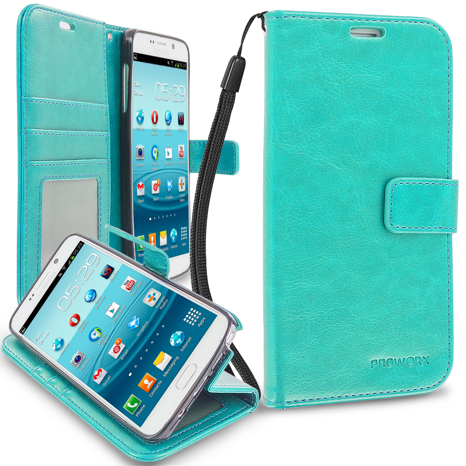 Samsung Galaxy Note 5 Mint Green ProWorx Wallet Case Luxury PU Leather Case Cover With Card Slots & Stand