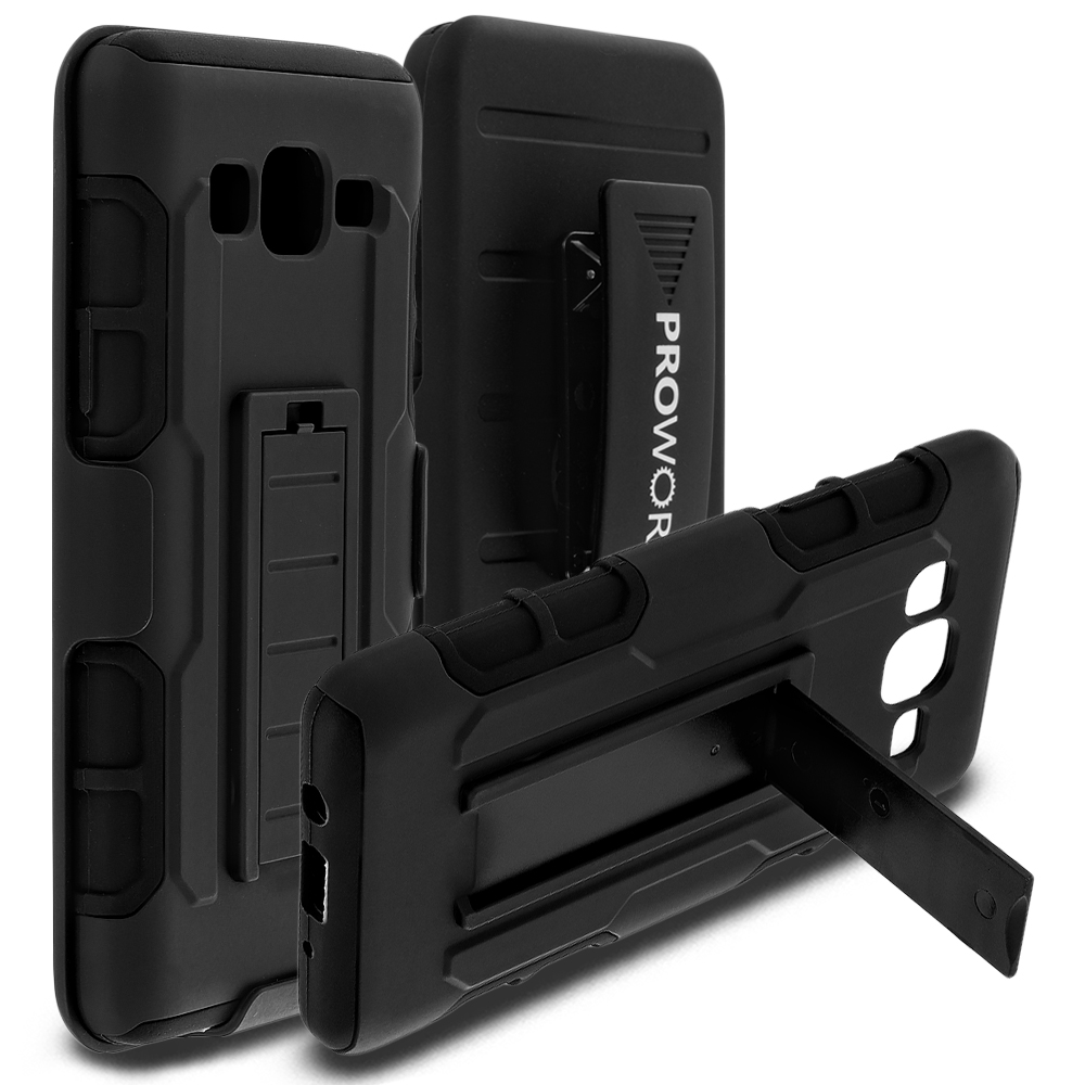 Samsung Galaxy On5 Black ProWorx Heavy Duty Shock Absorption Armor Defender Holster Case Cover With Belt Clip