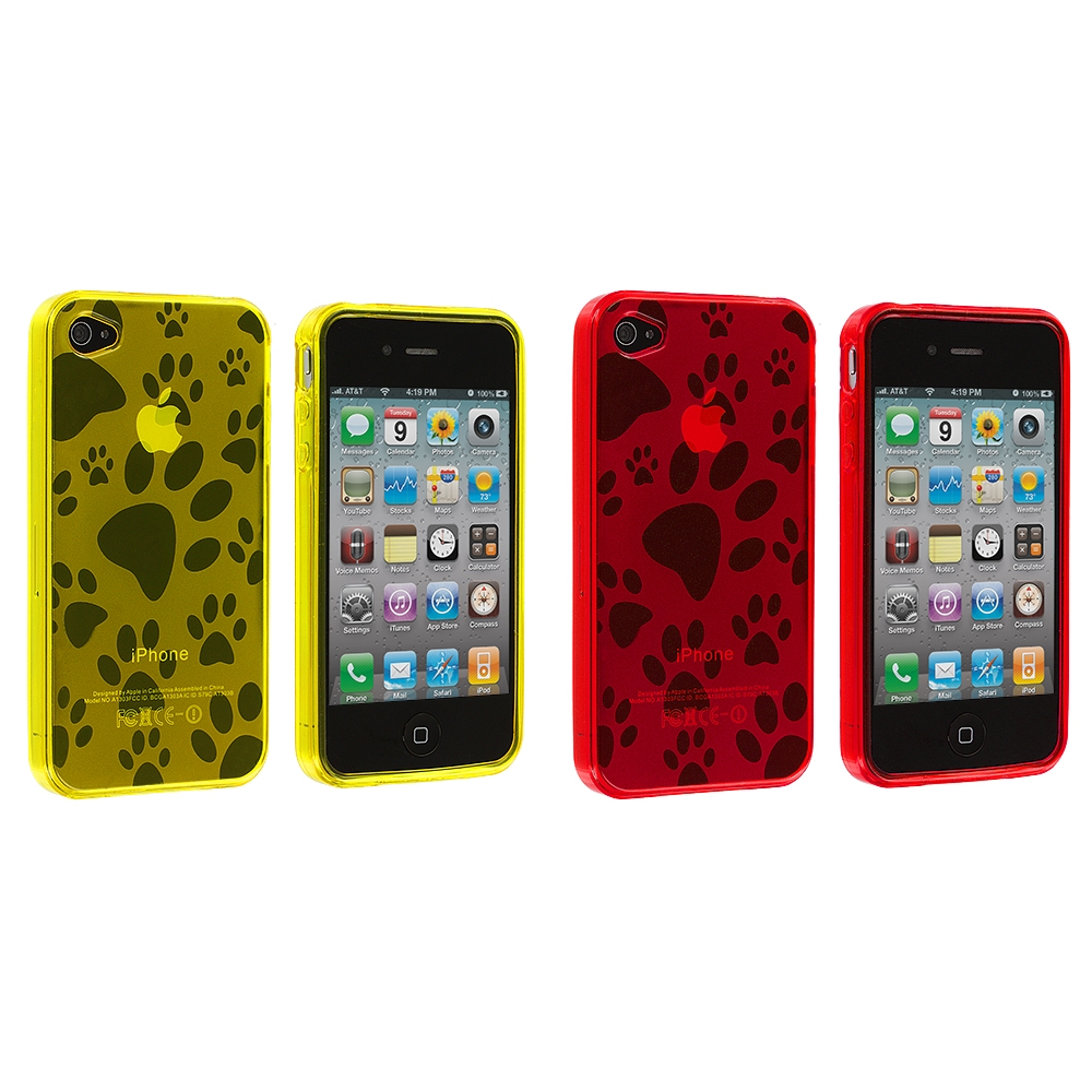 Apple iPhone 4 / 4S 2 in 1 Combo Bundle Pack - Yellow Red Dog Paw TPU Rubber Skin Case Cover