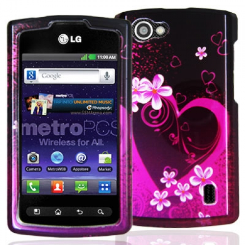 LG Optimus M+ MS695 Purple Love Design Crystal Hard Case Cover