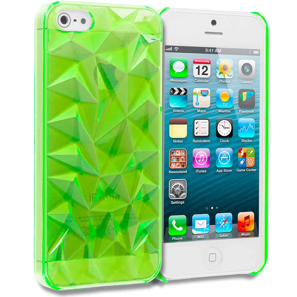 Apple iPhone 5/5S/SE 5 in 1 Combo Bundle Pack - Diamond Crystal Hard Back Cover Case : Color Neon Green Diamond
