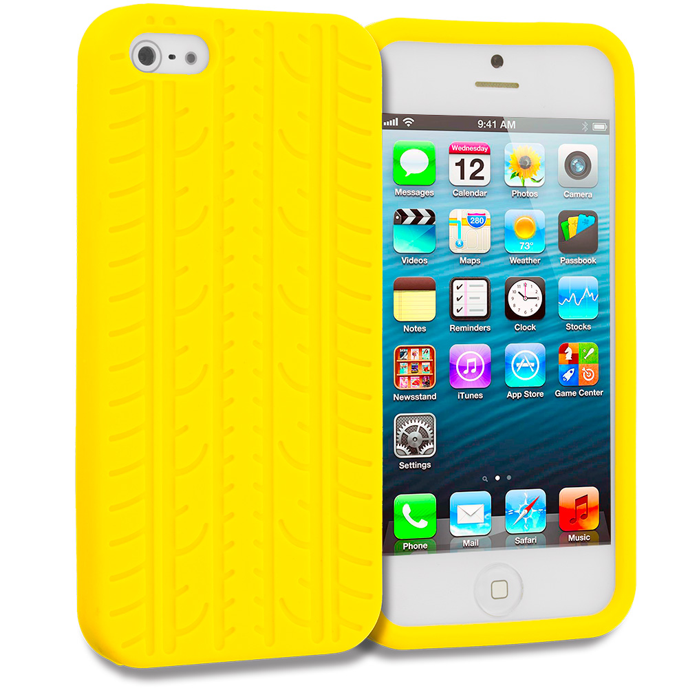 Apple iPhone 5/5S/SE Combo Pack : Black Tire Silicone Soft Skin Case Cover : Color Yellow Tire