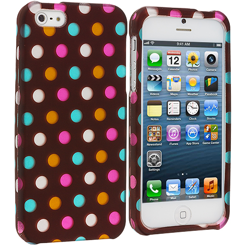 Apple iPhone 5/5S/SE Chocolate Dots Hard Rubberized Design Case Cover