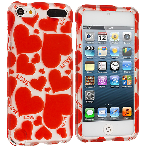 Apple iPod Touch 5th 6th Generation 2 in 1 Combo Bundle Pack - Hearts Love Hard Rubberized Design Case Cover : Color Hearts w Different Shapes