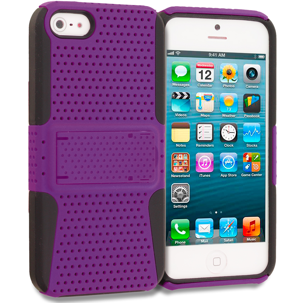 Apple iPhone 5/5S/SE Black / Purple Hybrid Mesh Hard/Soft Case Cover with Stand