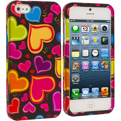Apple iPhone 5/5S/SE Combo Pack : Rainbow Hearts Black Hard Rubberized Design Case Cover : Color Rainbow Hearts Black