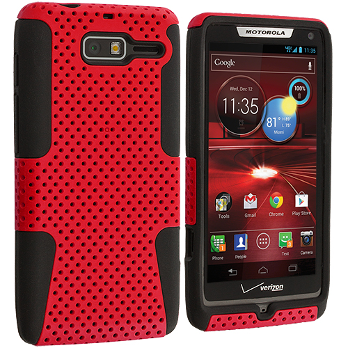 Motorola Droid Razr M XT907 Black / Red Hybrid Mesh Hard/Soft Case Cover