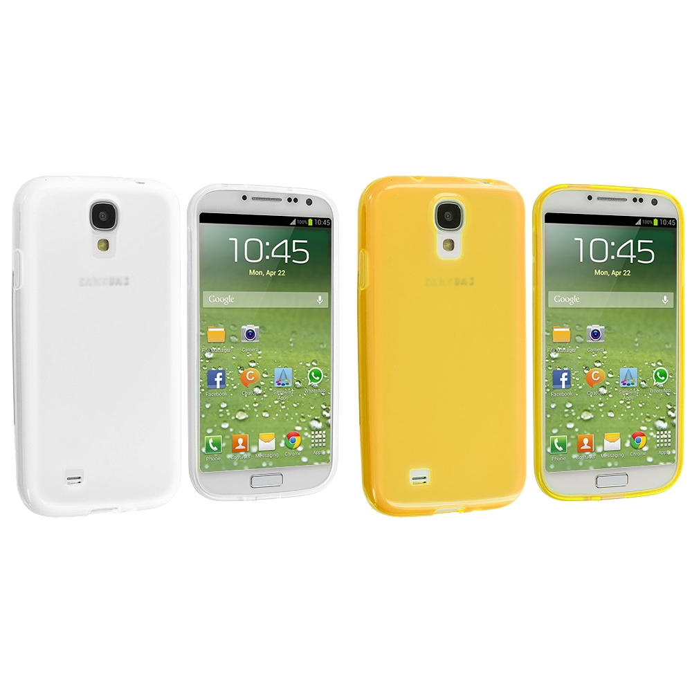 Samsung Galaxy S4 2 in 1 Combo Bundle Pack - Clear Yellow Plain TPU Rubber Skin Case Cover