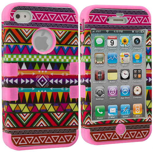 Apple iPhone 4 / 4S Pink Tribal Hybrid Tuff Hard/Soft 3-Piece Case Cover