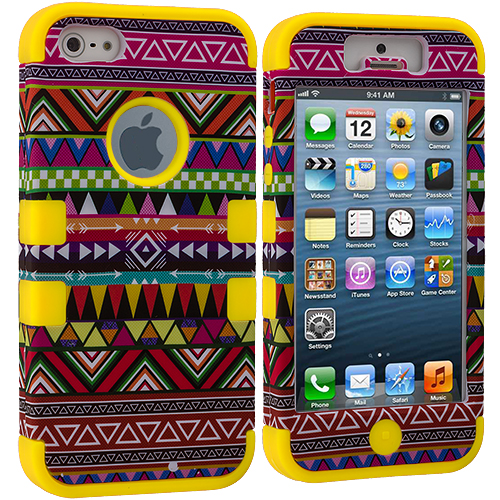 Apple iPhone 5/5S/SE Combo Pack : Red Tribal Hybrid Tuff Hard/Soft 3-Piece Case Cover : Color Yellow Tribal