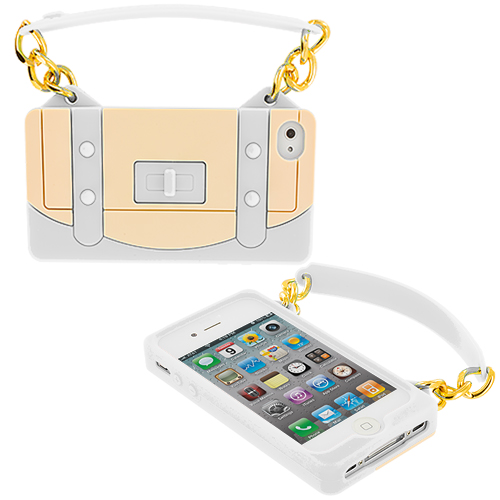 Apple iPhone 4 / 4S White Handbag Silicone Design Soft Skin Case Cover