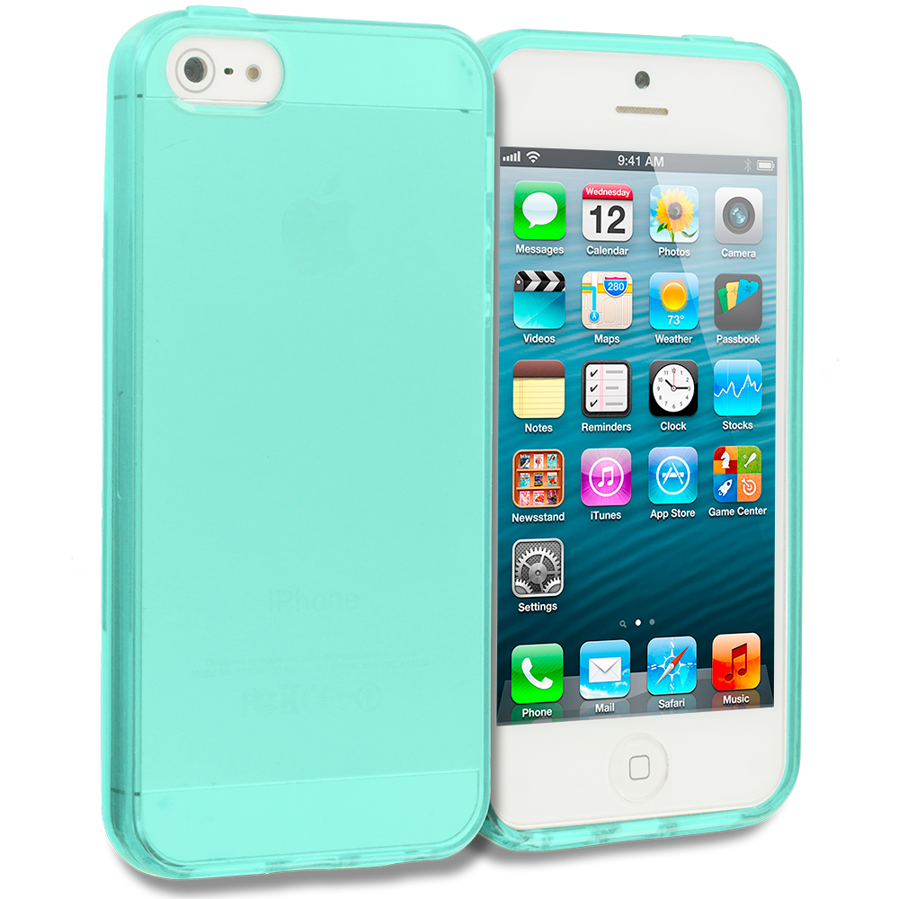 Apple iPhone 5/5S/SE Mint Green Plain TPU Rubber Skin Case Cover